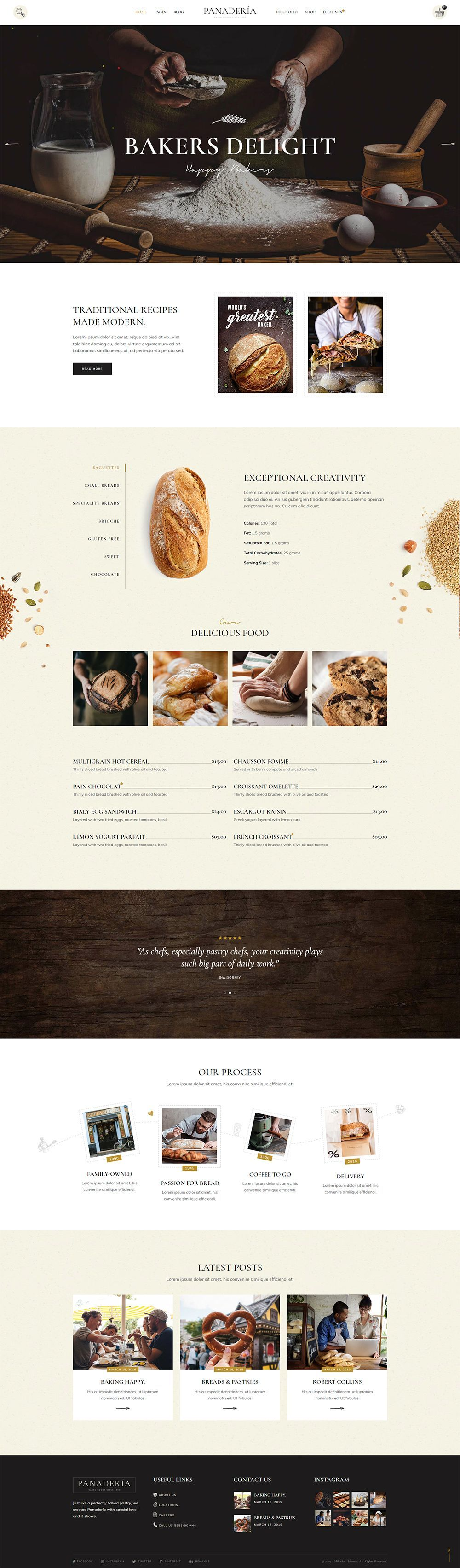 Panadería - Bakery and Pastry Shop Theme Made for bakeries and pastry shops, Panadería WordPress theme is the perfect ingredient your website has been waiting for!