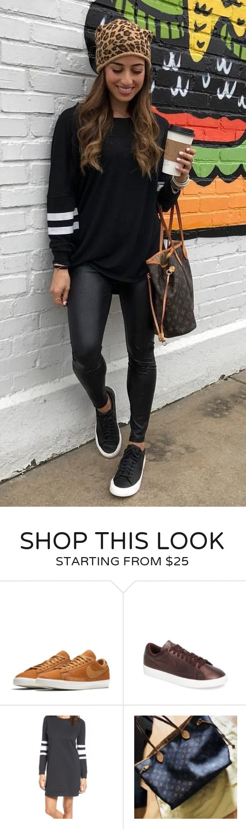 d9b6cd36e49  fall  outfits women s black and white long-sleeved shirt and black pants.  Click To Shop This Look.