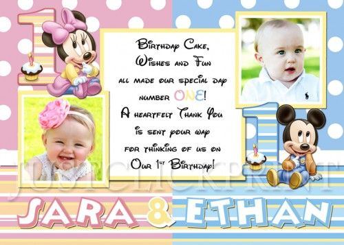 TWINS Baby Minnie Mickey First Birthday Thank You Card Printable – Baby Mickey First Birthday Invitations