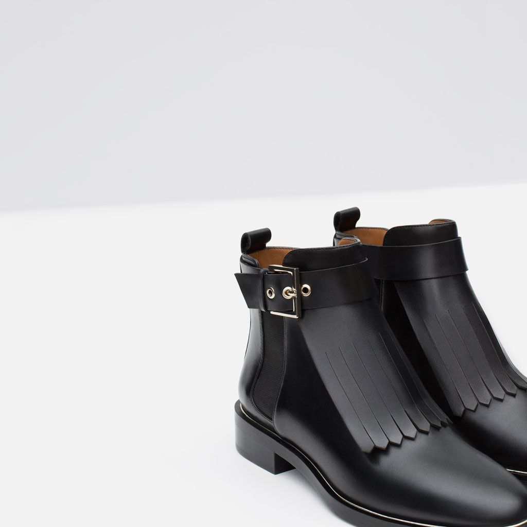 leather ankle boot with fringes-view all-shoes-woman | zara canada
