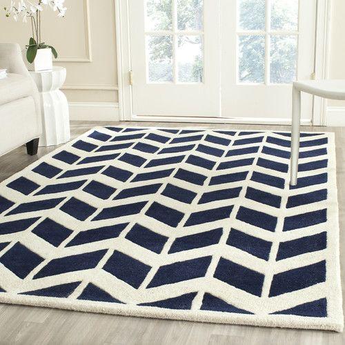 Hand Tufted Wool Dark Blue Ivory Rug Modern Wool Rugs Geometric Pattern Rug Wool Area Rugs