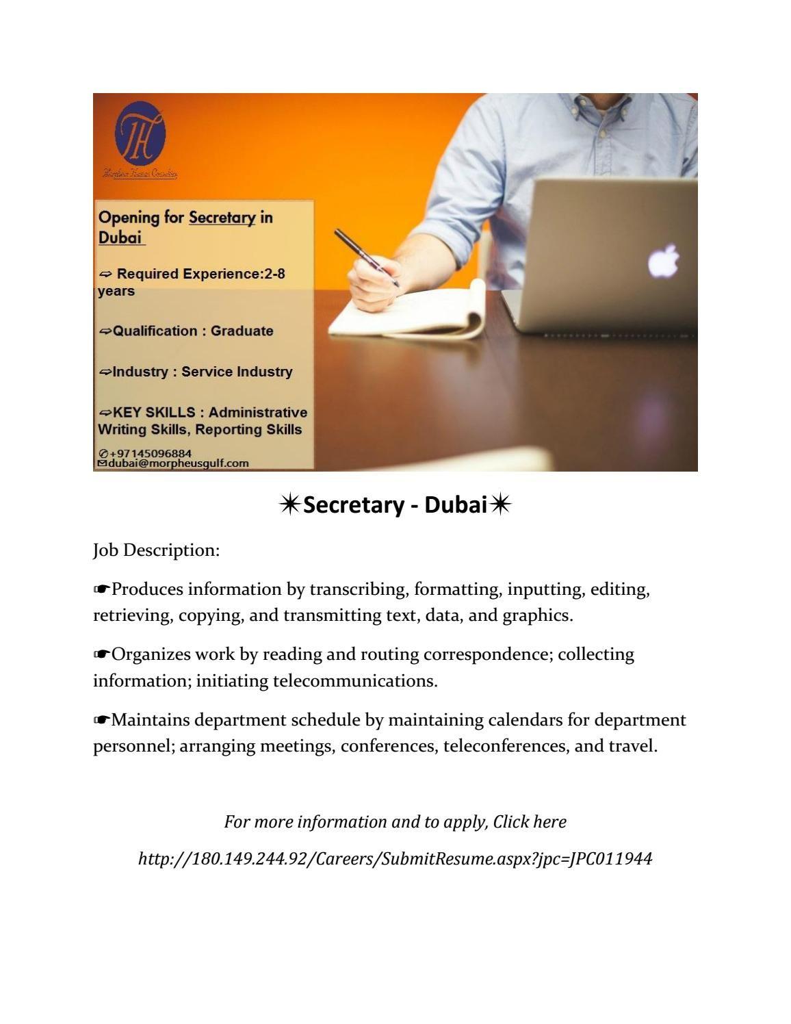 Secretary Dubai Work organization, Writing skills, Job