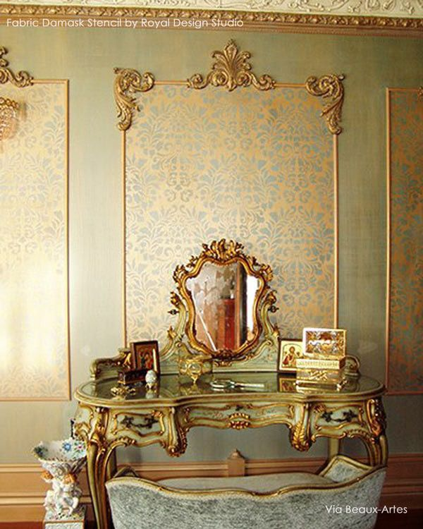 fabric damask wall stencil muebles auxiliares versalles