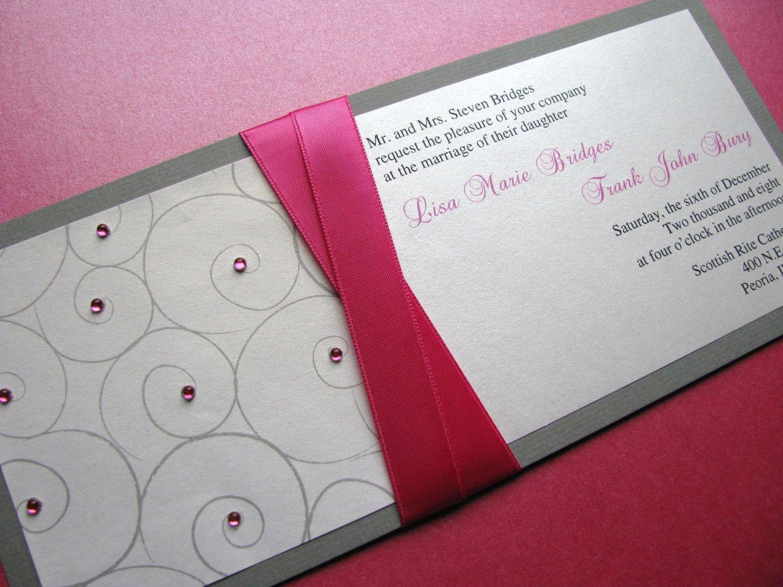 Fuschia and Silver Modern Wedding Invitation, Glitz and Glam Bat ...