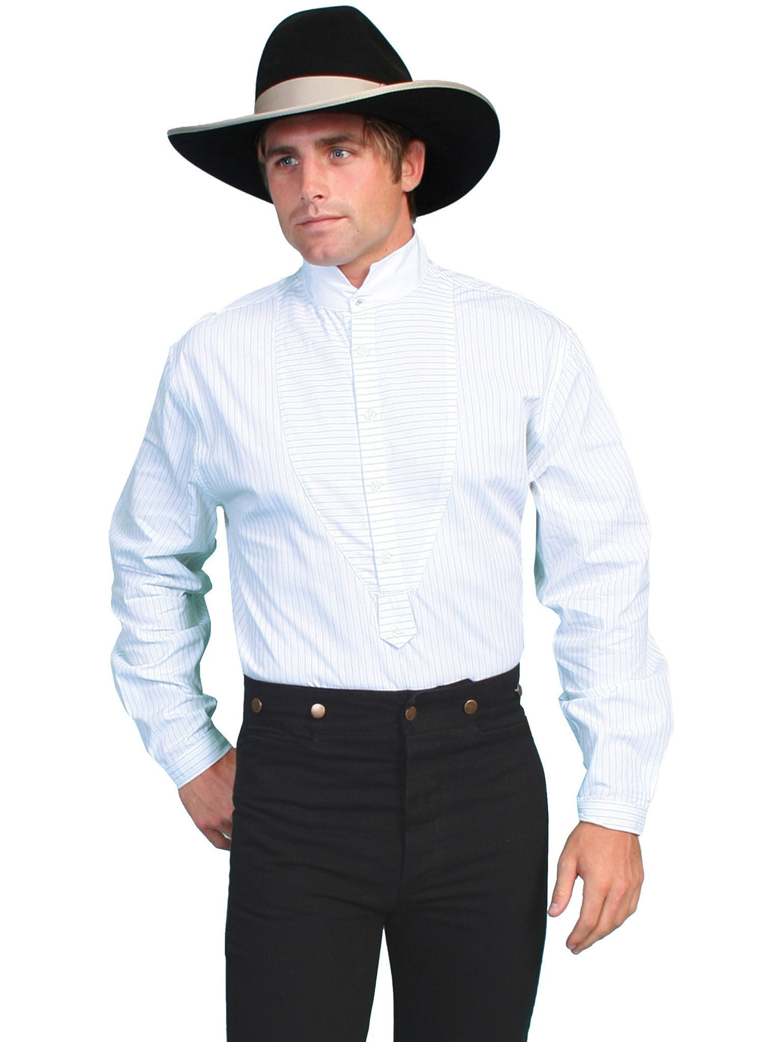 9dae08c271f Scully Rangewear Mens White 100% Cotton L S Big Tuxedo Western Shirt