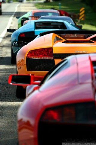 Lamborghini heaven ~ I take one in purple please..