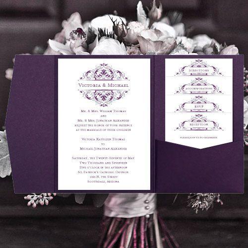diy pocketfold wedding invitations grace purple eggplant silver