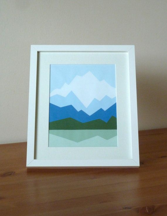 Mount Cook From Lake Matheson Geometric Mountain Painting 10x12 Original Abstract Art Geome Mountain Paintings Mountain Landscape Painting Geometric Mountain