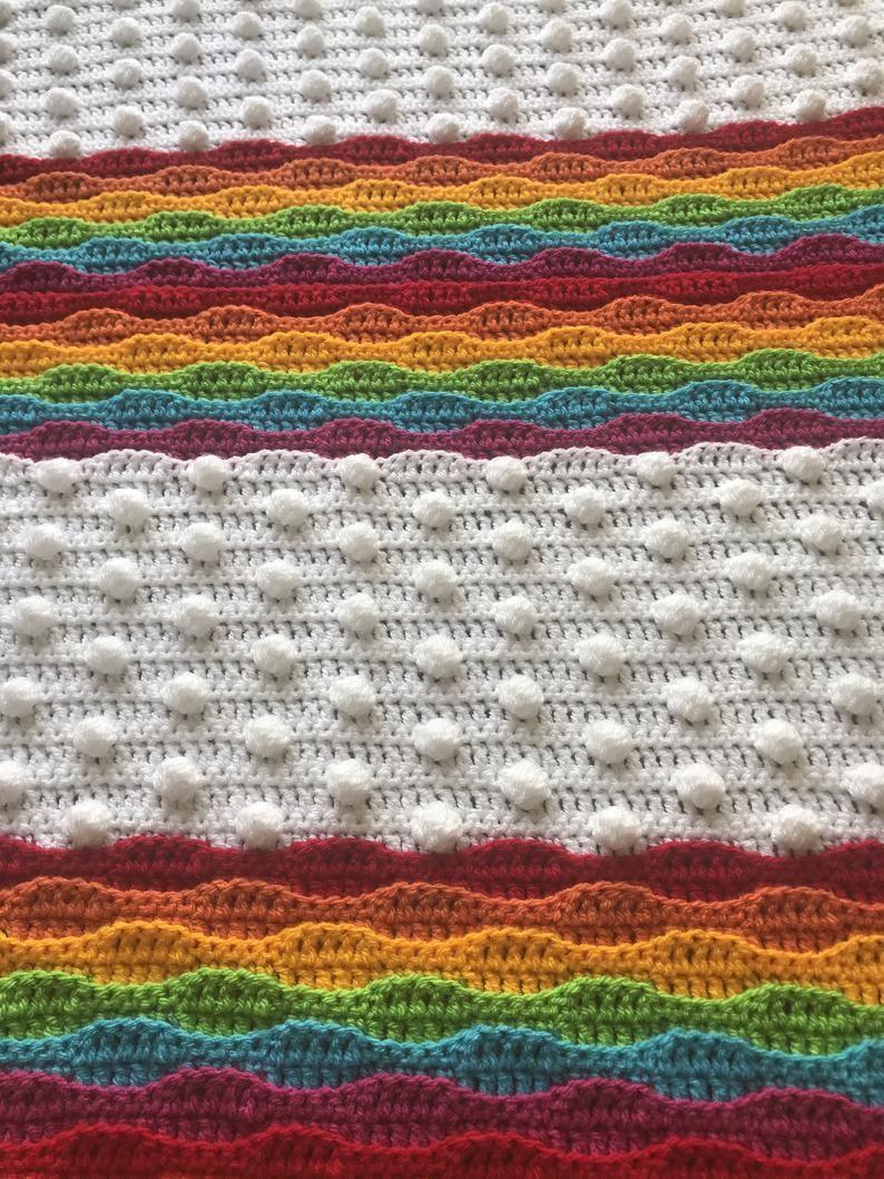 Crochet Afghan Mona/'s Sewing Treasures Blanket Throw Handmade Blue Green and Gray Crochet Blanket