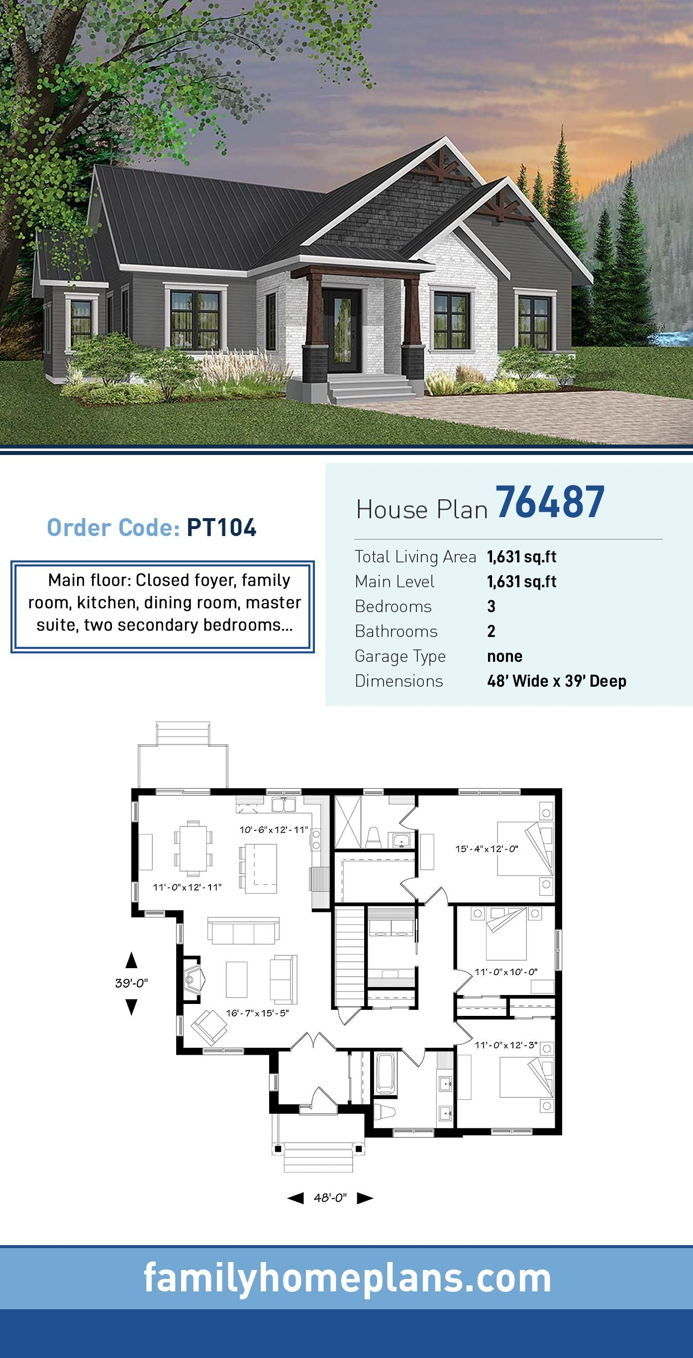 Ranch Style House Plan 76487 With 3 Bed 2 Bath Craftsman House Plans New House Plans House Plans