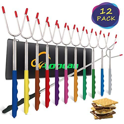 Aoocan Marshmallow Roasting Sticks Set of 12 Extend 45 Safe Stainless Telescoping Forks H