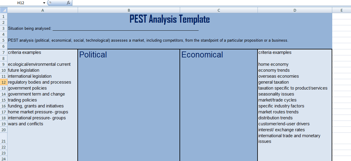 Get PEST Analysis Templates in Excel Format | Excel Project ...