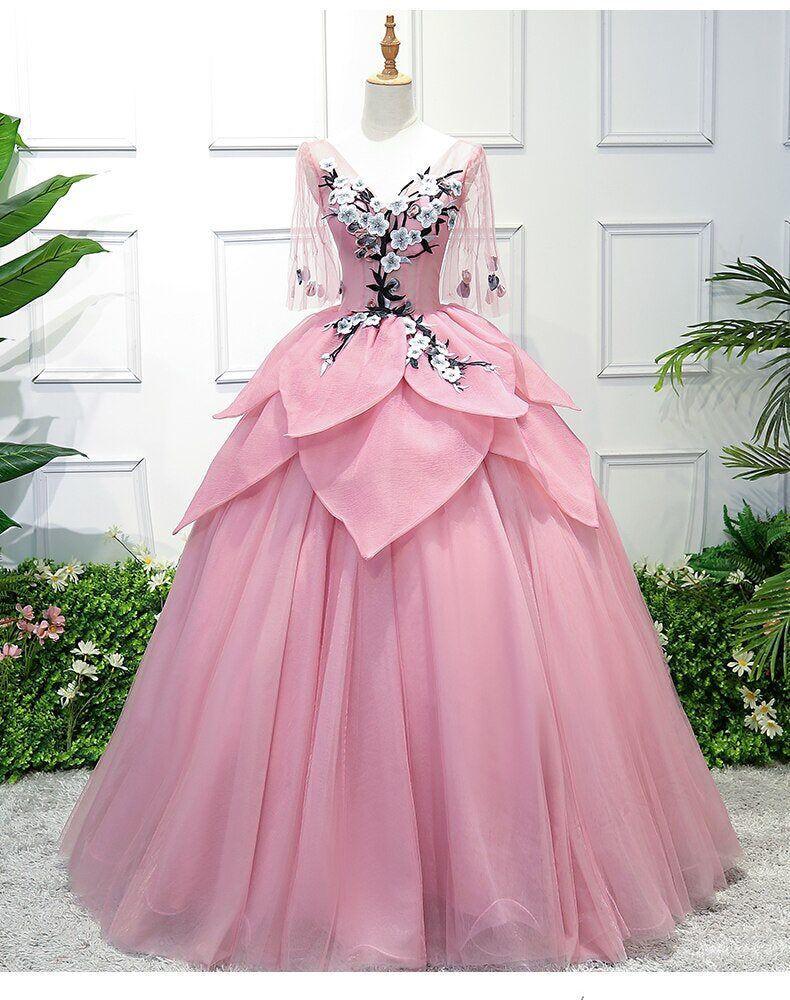 Sakura Cherry Blossom Flower Petal Dress Embroidery Ball Gown Medieval Renaissance Queen Victorian Belle Formal By Red Evening Dress Pink Evening Dress Dresses [ 1000 x 790 Pixel ]