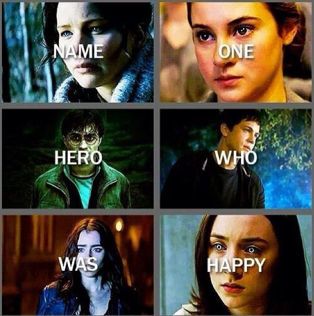 (Hunger Games, Divergent, Harry Potter, Percy Jackson, The Mortal Instruments, The Host)