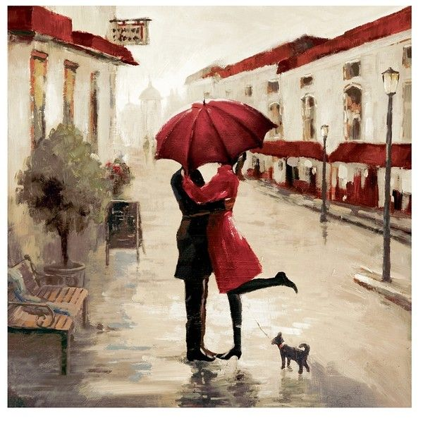 A Red Umbrella Couple Canvas Art Print 80 Liked On Polyvore Featuring Home Home Decor Wall Art Cityscape Umbrella Painting Canvas Art Prints Canvas Art