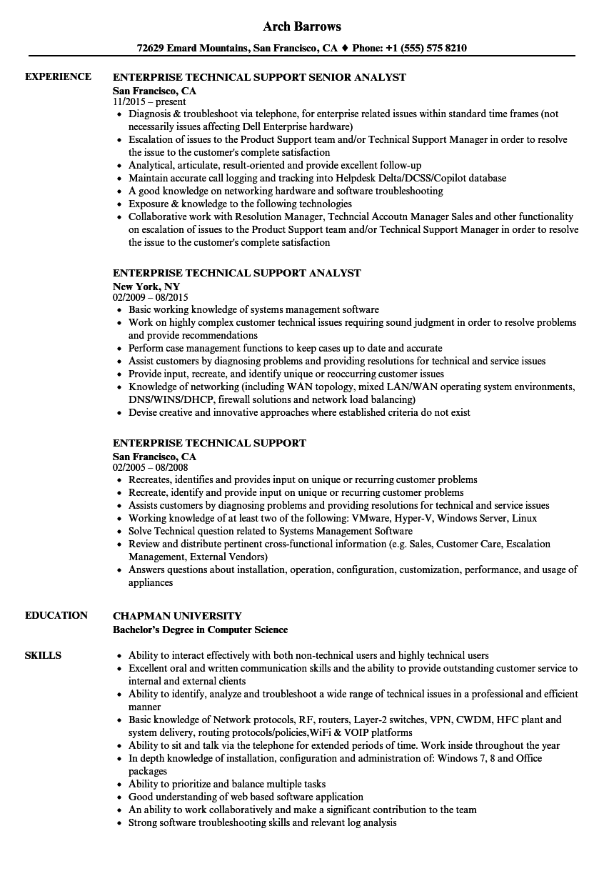 Technical Support Resume Samples in 2020 Customer
