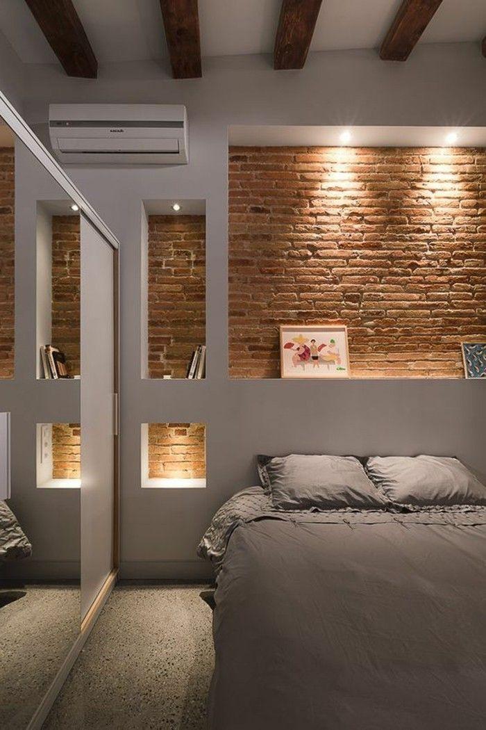 mur-de-rangement-intérieur-blanc-chambre-à-coucher-éclairage-niches ...