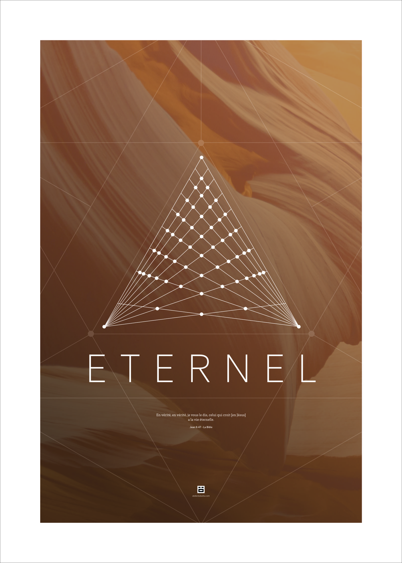 Poster 50x70cm - Eternel - atelierdubarbu.com - certitude.fr - #bible #verset #poster #deco #print #design #minimalist #nature #dieu #eternel #chretien #amour #univers #moderne #filaire #vertoriel #geometrique
