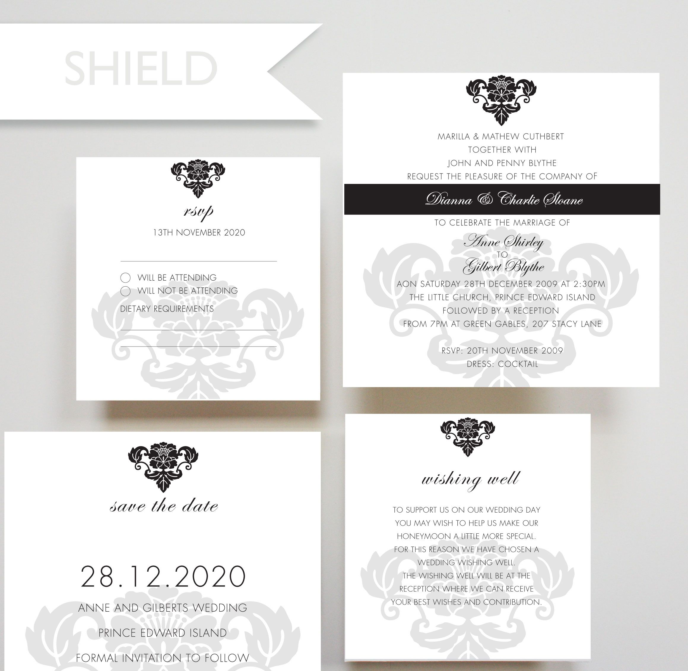 Shield invitation rsvp invitation design and engagement shield invitation save the date card wishing well card rsvp card wedding stopboris Choice Image