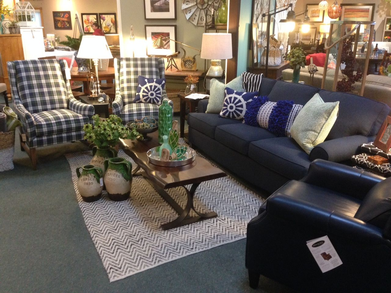 Plaid Living Room Furniture Navy Blue Sofa Plaid High Back Chairs Flat Weave Chevron Area