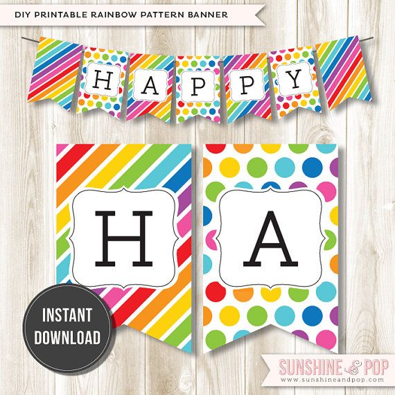 Instant Download Rainbow Happy Birthday Banner Diy