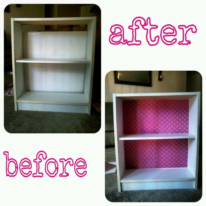 Old Bookshelf With Scrapbook Paper To Give It A Facelift