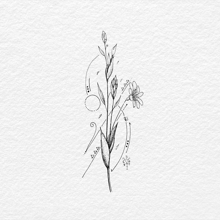 Floral Geometric Ink On Drawing Paper Floral Flower