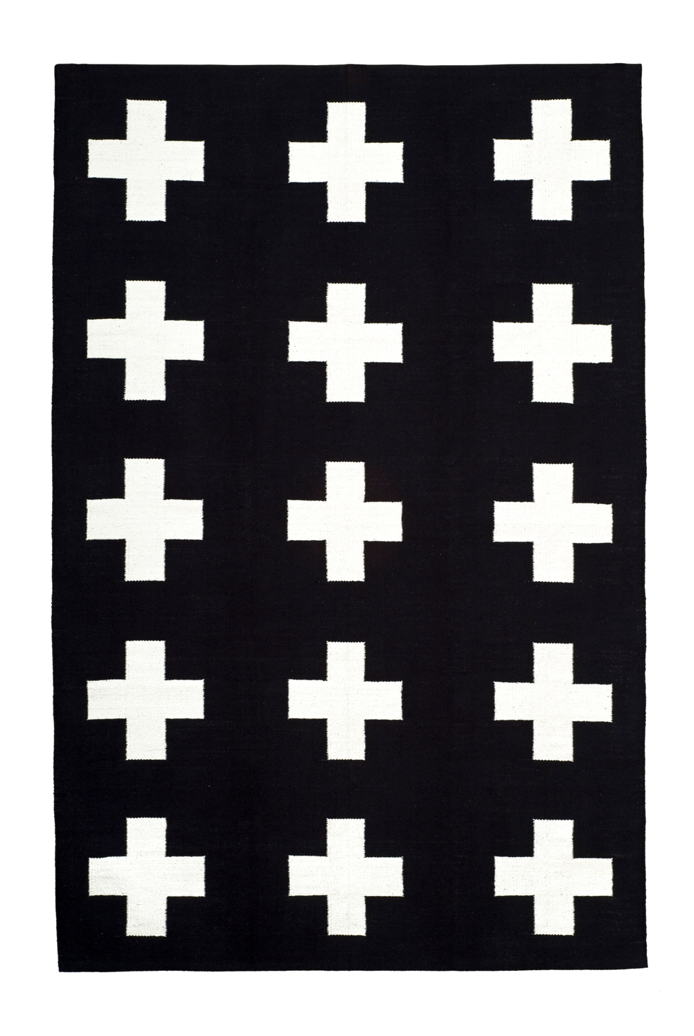 Vloerkleed black white cross. Mooi!