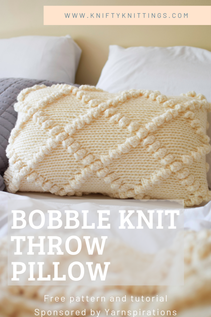 Bobble Knit Throw Pillow Click For The Free Pattern And Tutorial From Www Kniftyknittings Knitted Throws Knitted Throw Patterns Crochet Pillow Patterns Free