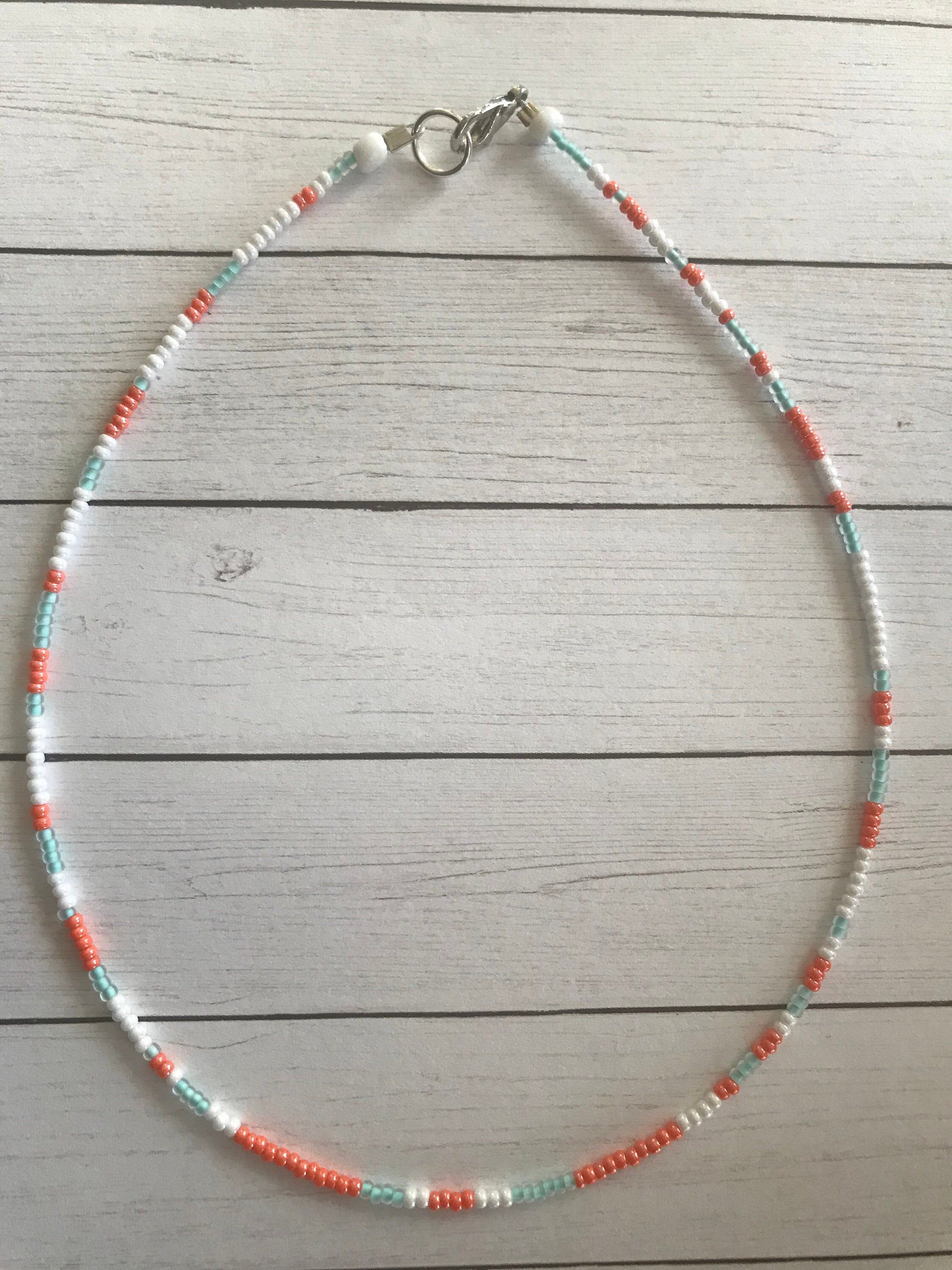 Pink dream seed bead necklace choker
