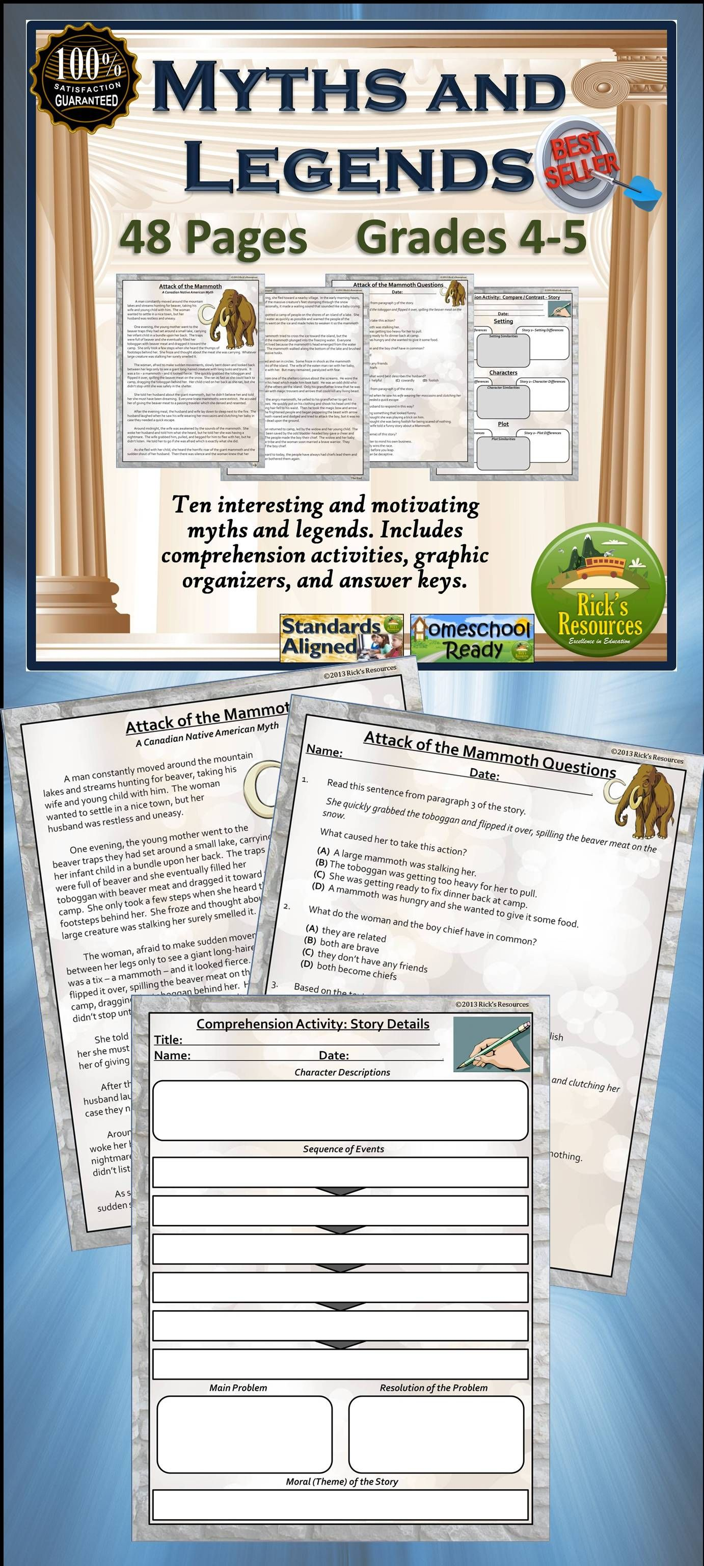 Close Reading Comprehension Activities Myths And Legends