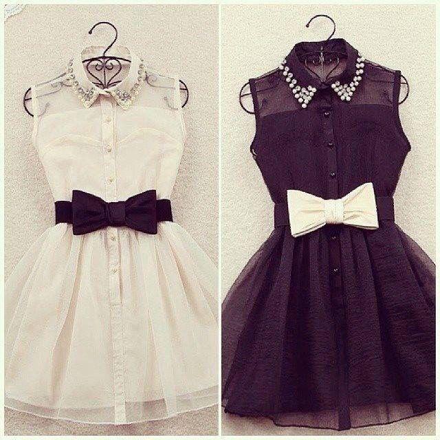 Black and white bow belt dress