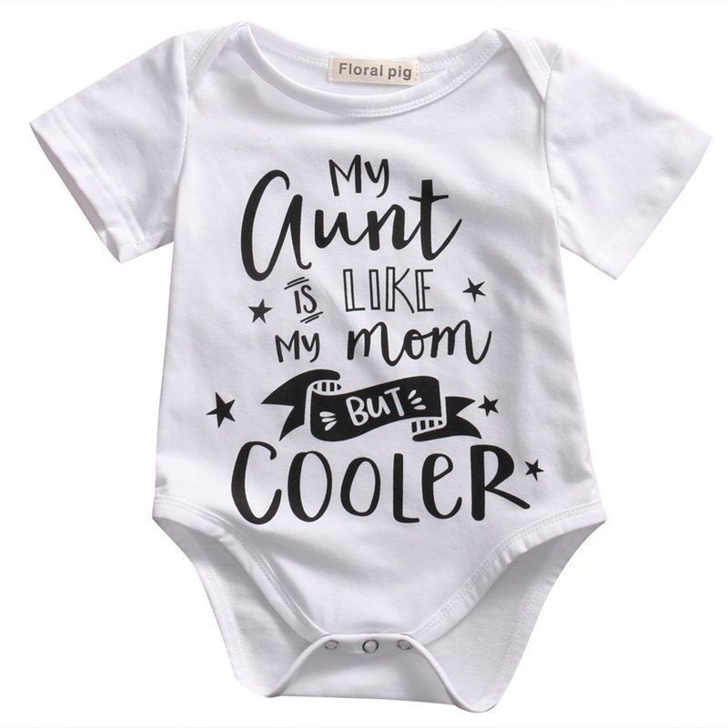 bc0b27cf7 Click to Buy << my aunt Toddler Baby Bodysuit White Letter Stars Print