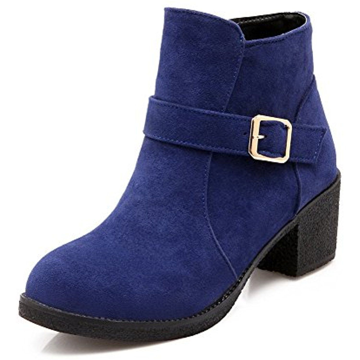 Women's Round Closed Toe Low-top Low Heels Solid Flock Boots