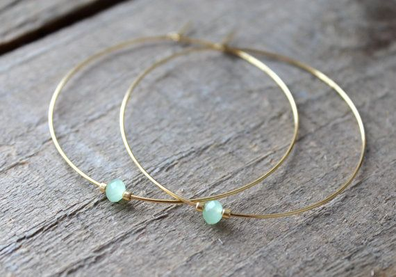 Photo of Hoop Earrings, Large Gold Plated Hoops, Gold Hoop Earrings, Beaded Green Glass, Also in Silver, Silver Hoops
