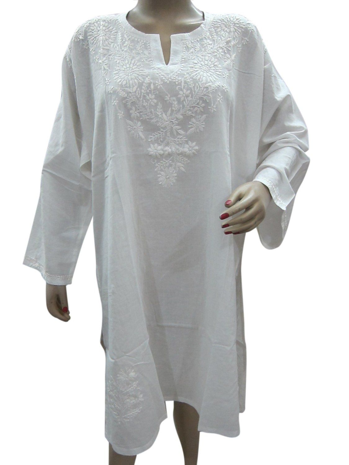 Amazon.com: Boho India Dress Kurti Top Embroidered White ...