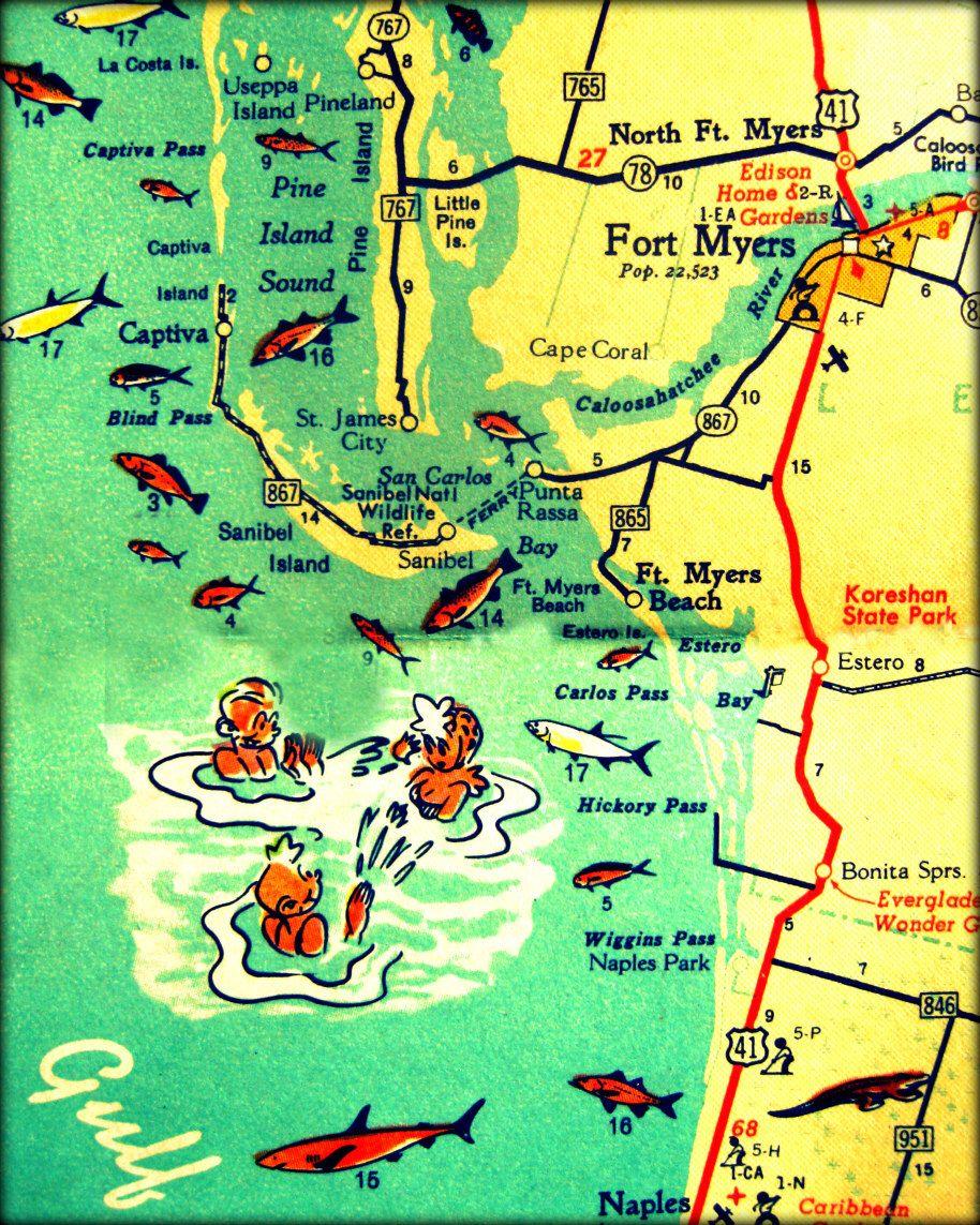 Fort Myers Beach Florida Map.Retro Ft Myers Florida Map Art 8x10 Sanibel Fl Map Print Ft Myers