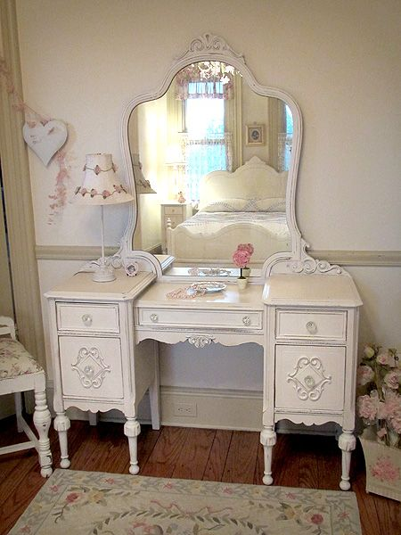 One-of-a-Kind Antique White Vanity A full page of beauitiful painted - One-of-a-Kind Antique White Vanity A Full Page Of Beauitiful