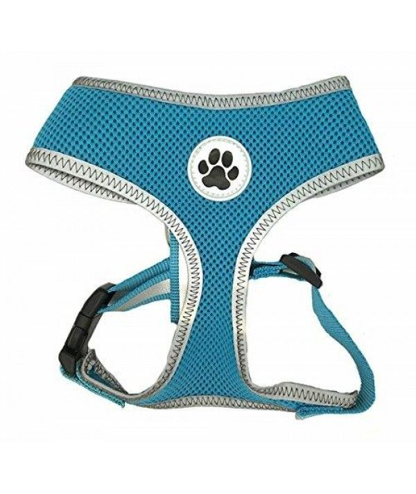 Turquoise Reflective Mesh Soft Dog Harness Safe Harness No