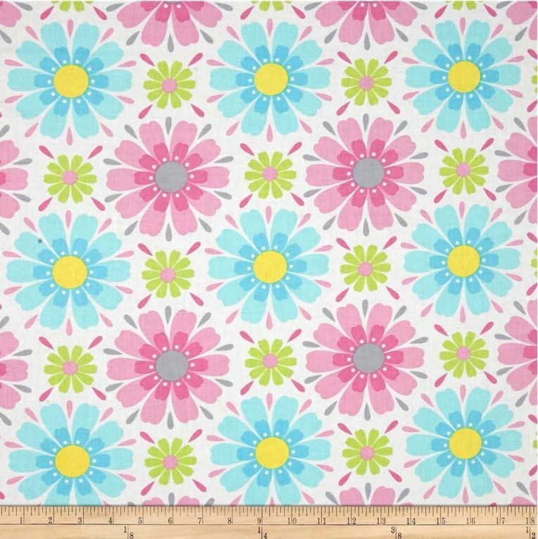 Floral fabric by the yard quilt cotton pink blue for Floral nursery fabric