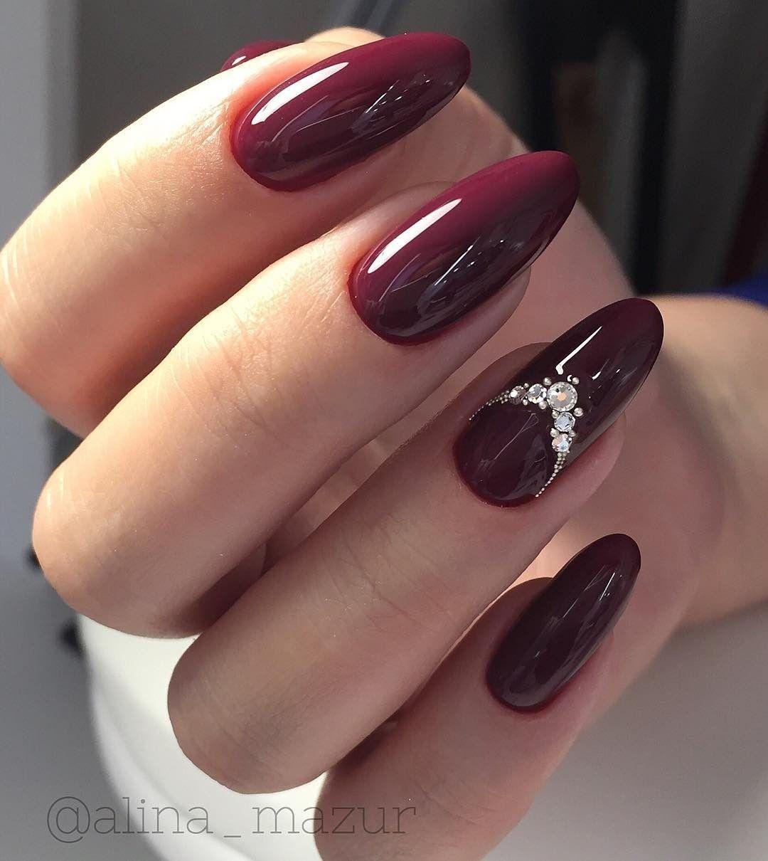 Pin By Natalakrivko On Dizajn Krasnyj Burgundy Nails Red Acrylic Nails Wine Nails