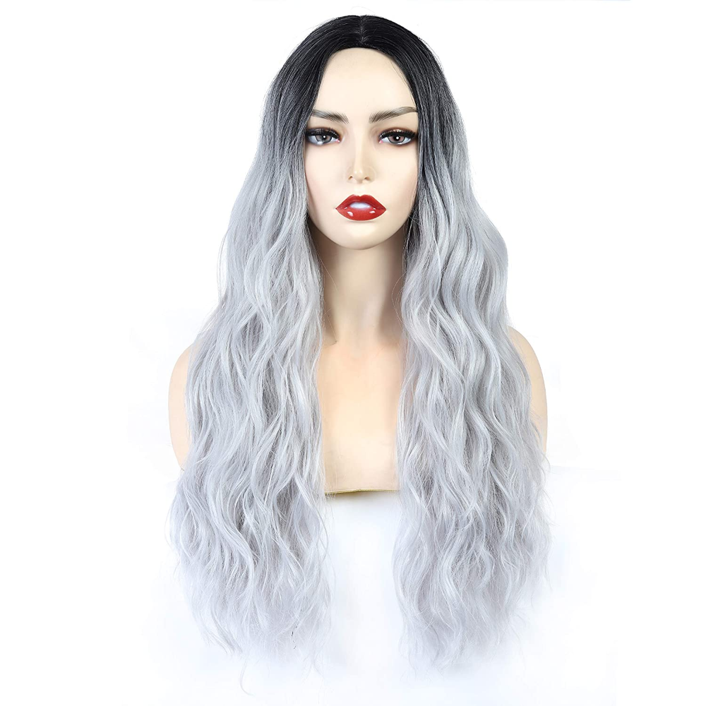 Short Wave Curly Wig Silver Gray Full Hair Wigs for Women Ladies Synthetic Party