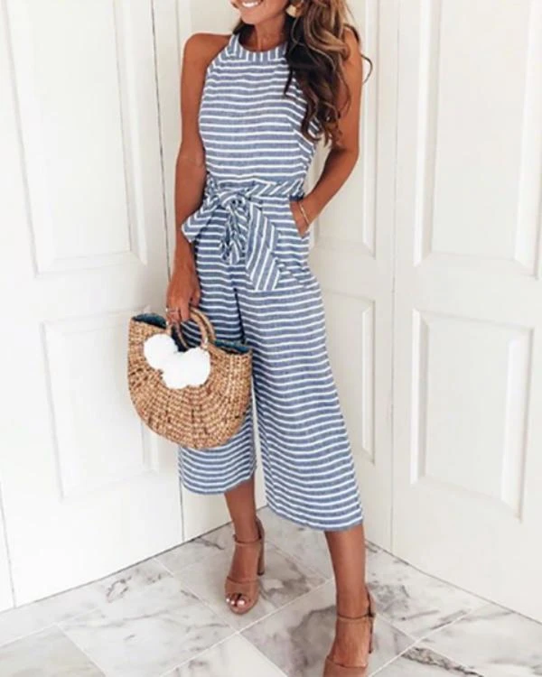 Striped Vacation Casual Jumpsuit in 2020 | Casual jumpsuit, Jumpsuit outfit, Cool outfits