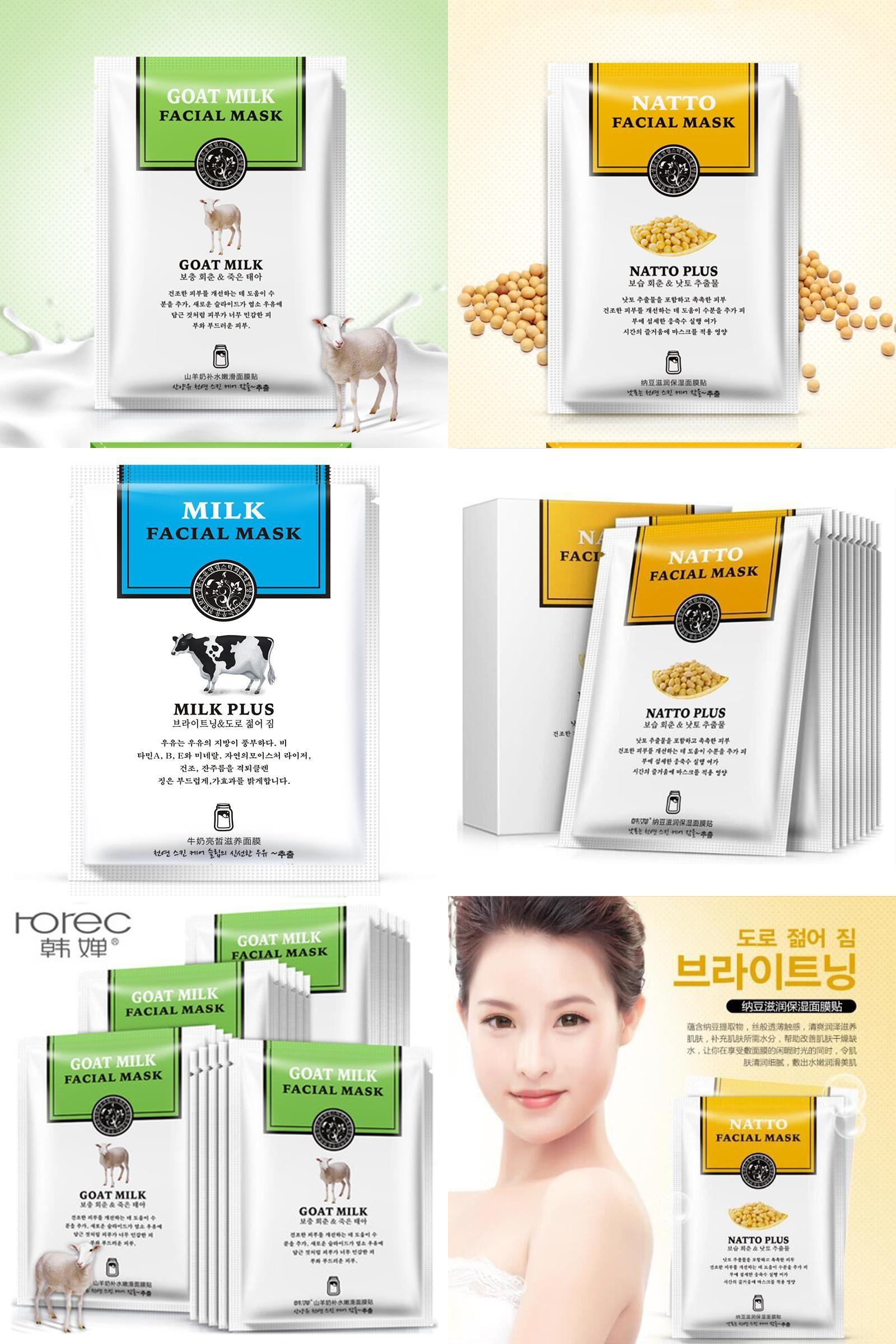 Visit To Buy Han Chan Facial Mask Skin Care Natto Goat Milk Bioaqua Masker Vitamin C Wihitening Moisturizing