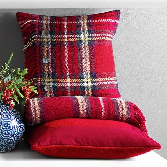 Cynthia Rowley Fringe Pillows: Tartan Wool Pillow Cover With Fringe, Wilkes