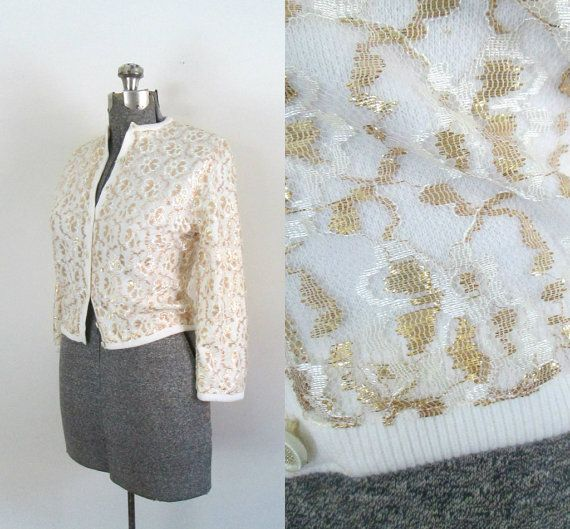 Gold Lace Cardigan Mid Century Pin Up Button Front Shrug Sweater ...
