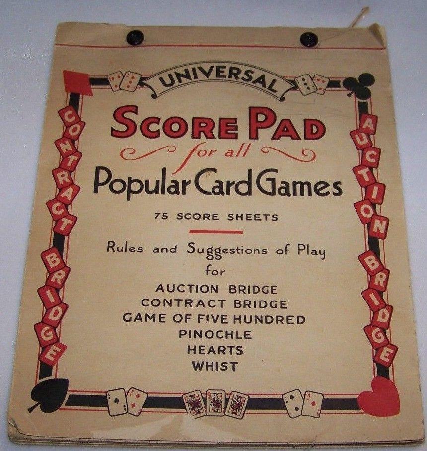 Vtg Universal Score Pad for Popular Card Games Whist