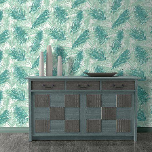 papier_peint_intisse_feuille_de_palme_vert mezzanine Pinterest - Comment Peindre Du Papier Peint