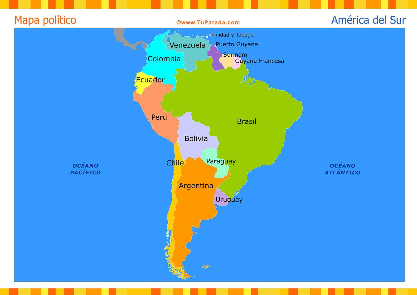 Mapa de América del Sur político. Tarjetas postales virtuales