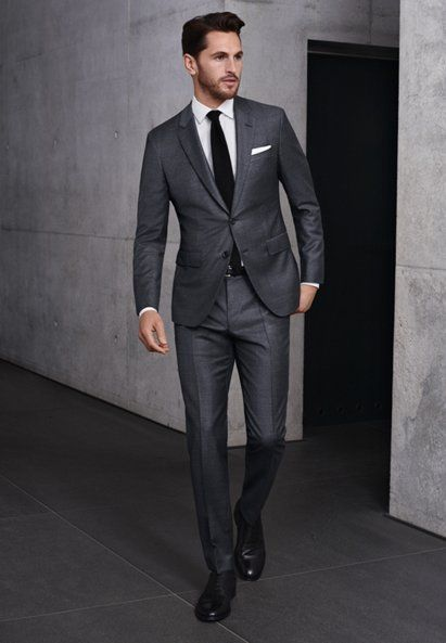 Gray Full Canvas suit, white shirt, black tie and shoes by BOSS ...